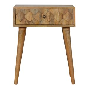 Oak-Style Bedside Table with Pineapple Carved Drawer
