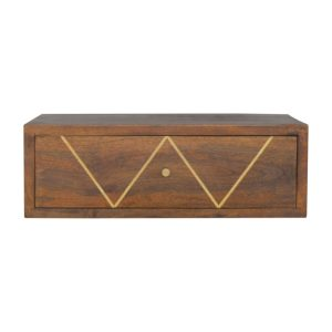Wall Mounted Bedside Table with Chestnut Finish & Brass Inlay