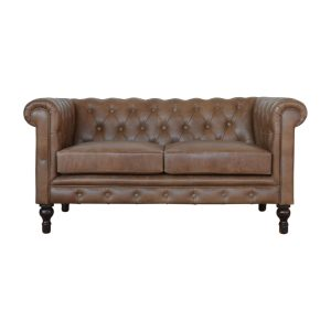 2 Seater Brown Leather Chesterfield Sofa