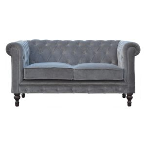 2 Seater Chesterfield Sofa with Grey Velvet Fabric
