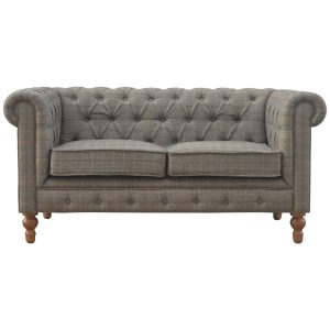 2 Seater Chesterfield Sofa with Multi Tweed Fabric