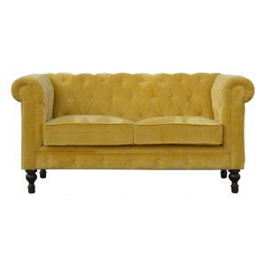 2 Seater Chesterfield Sofa with Mustard Velvet Fabric