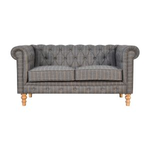 2 Seater Chesterfield Sofa with Pewter Tweed Fabric