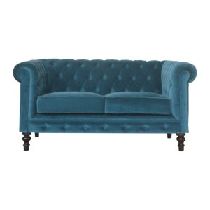 2 Seater Chesterfield Sofa with Teal Velvet Fabric