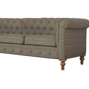 3 Seater Chesterfield Sofa with Multi Tweed Fabric