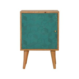 Acadia Teal Bedside Table with Teal Cube Design on Door