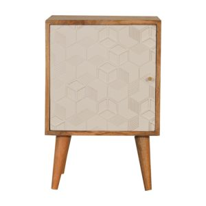 Acadia White Bedside Table with Oak-Style Finish & White Patterned Door