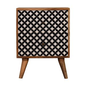 Bedside Table with 2 Diamond Screen Printed Drawers
