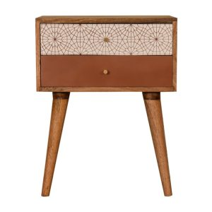 Bedside Table with Brick Red Patterned Drawers