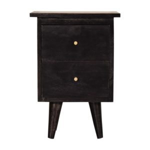 Black Hand Painted Bedside Table with 2 Drawers