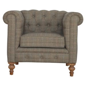 Hand Crafted Solid Wood Tweed Fabric Furniture