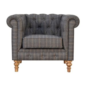 Chesterfield Armchair with Pewter Tweed Fabric