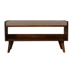 Chestnut Bench with Brown Tweed Seat Pad