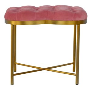 Clover shaped Footstool with Pink Velvet Fabric