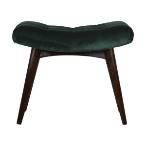 Curved Bench with Emerald Cotton Velvet Seat