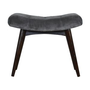 Curved Bench with Grey Cotton Velvet Seat
