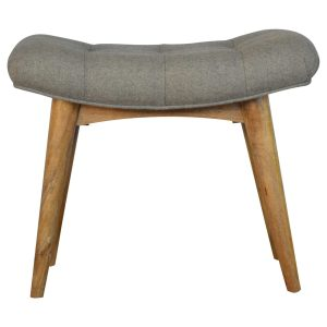 Curved Footstool with Grey Tweed