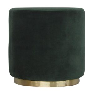 Footstool with Emerald Green Velvet Fabric and Gold Base