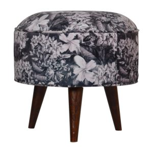 Footstool with Floral Fabric & Walnut Legs