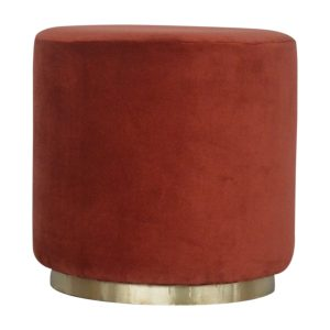 Footstool with Gold Base & Brick Red Velvet Fabric