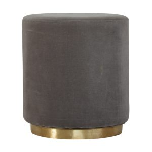 Footstool with Grey Velvet Fabric and Gold Base