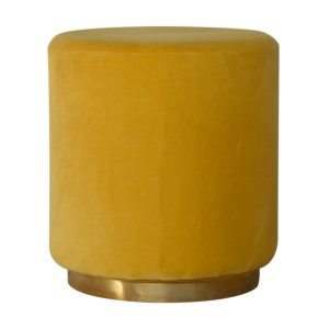Footstool with Mustard Velvet Fabric & Gold Base