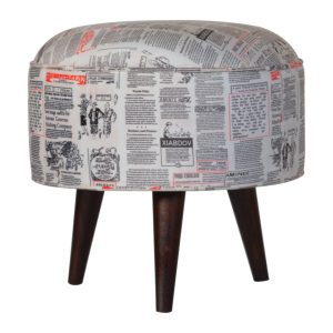 Footstool with News Print Fabric Seat