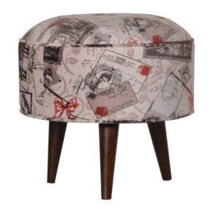Footstool with Postcard Print Fabric Seat
