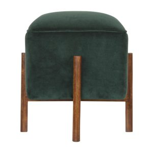 Footstool with Solid Wood Legs & Emerald Green Velvet Fabric