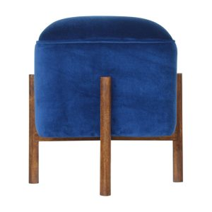Footstool with Solid Wood Legs Royal Blue Velvet Fabric Seat