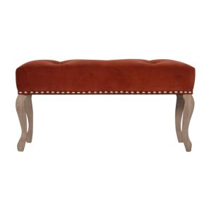 French Style Bench with Brick Red Velvet Fabric