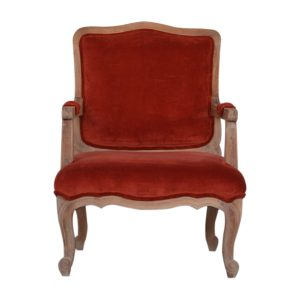 French Style Chair with Brick Red Velvet Fabric
