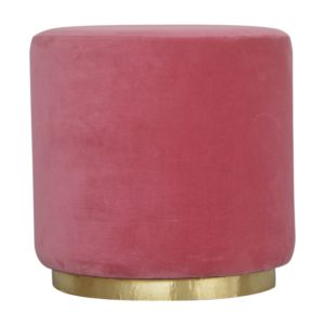 Large Footstool with Gold Base & Pink Velvet Fabric Seat