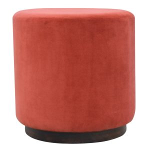 Large Footstool with Wooden Base & Brick Red Velvet Fabric Seat