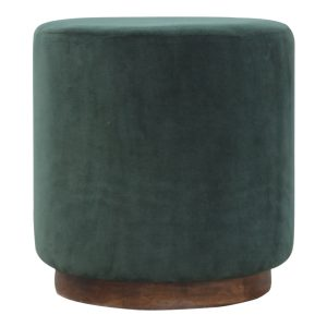 Large Footstool with Wooden Base & Emerald Green Velvet Fabric Seat