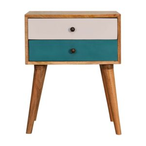 Modern Solid Wood Bedside Table with 2 Painted Drawers