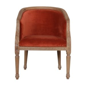 Occasional Chair with Brick Red Velvet Fabric