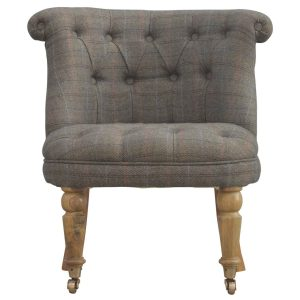 Petite Accent Chair with Multi Tweed Fabric