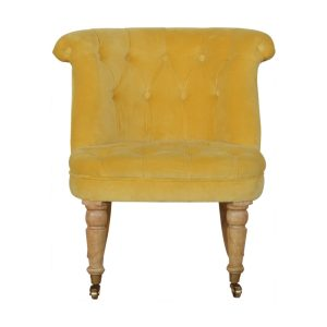 Petite Accent Chair with Mustard Velvet Fabric