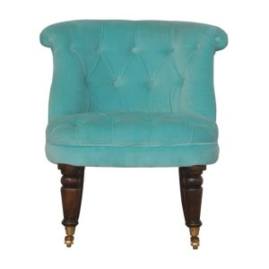 Petite Accent Chair with Turquoise Velvet Fabric