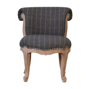 Pewter Tweed Fabric Studded Chair