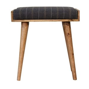 Solid Wood Footstool with Pewter Tweed Fabric Seat