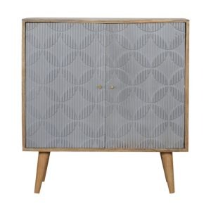 Storage Cabinet with Geometric Carved Grey Painted Doors