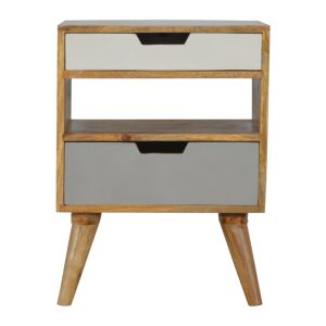 Bedside Cabinet with Grey & White Painted Drawers
