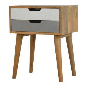 Bedside Table wit Grey & White Painted Drawers