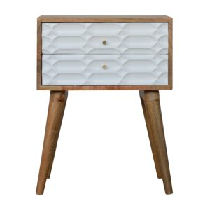 Bedside Table with 2 Hand Painted Carved White Drawers