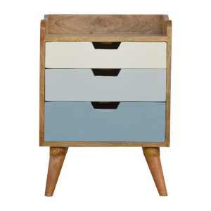 Bedside Table with 3 Blue & White Painted Drawers