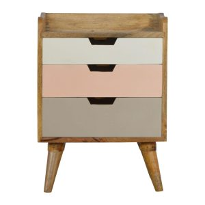 Bedside Table with 3 Blush Pink Painted Drawers
