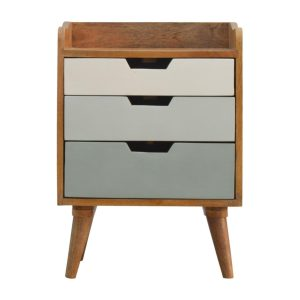 Bedside Table with 3 Green & White Painted Drawers