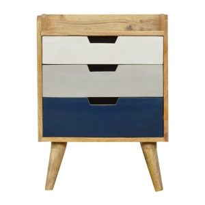 Bedside Table with 3 Navy, White & Grey Painted Drawers
